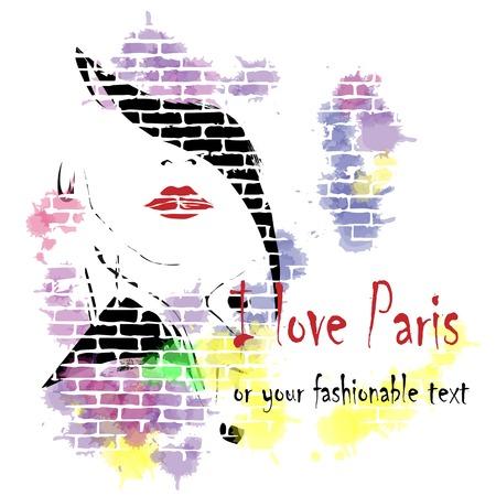 pretty girl: Fashion girl in sketch-style. Vector illustration.