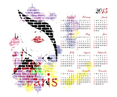 2015 calendar with fashion girl. Vector
