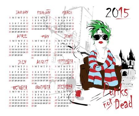 2015 calendar with fashion girl. Vector