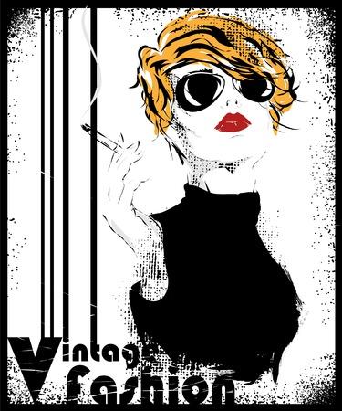 Fashion girl in sketch-style. Vector illustration. 版權商用圖片 - 33671561