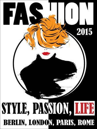60s adult: Vintage poster, fashion woman. Vector illustration