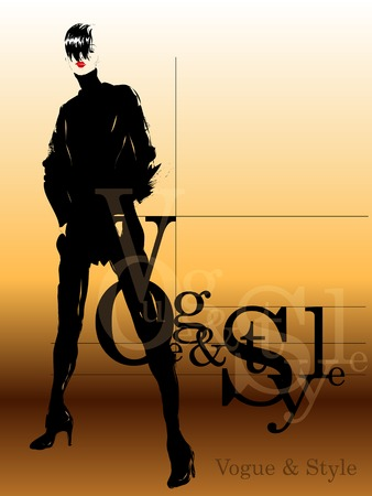 autumn woman: Fashion girl in sketch-style. Vector illustration.
