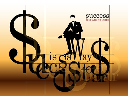bussiness man: Vintage Bussiness Background. Stylish letters, silhouette of the successful man in a suit. Vector illustration.