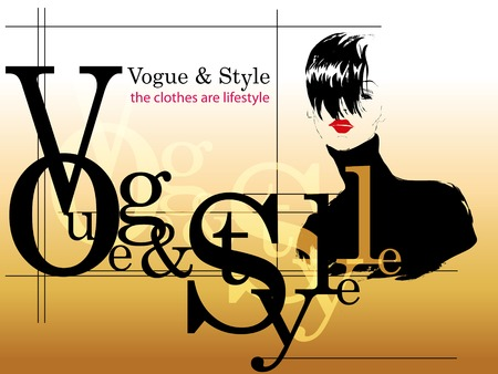 hair style fashion: Fashion girl in sketch-style. Vector illustration.