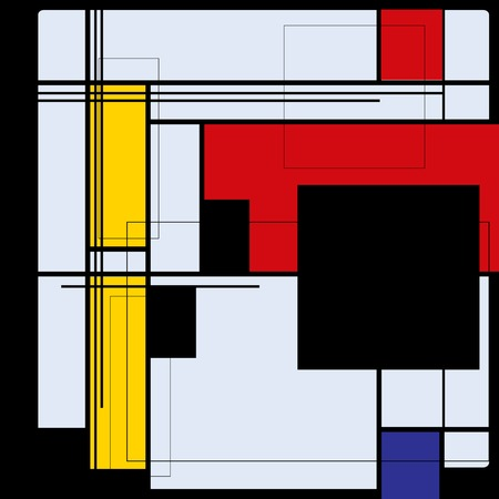 Abstract background in style of a cubism, red, blue, yellow squares Stock Illustratie