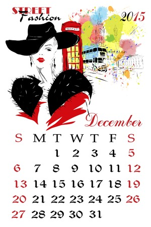dates fruit: Calendar with fashion girl. Sketch-girl illustration