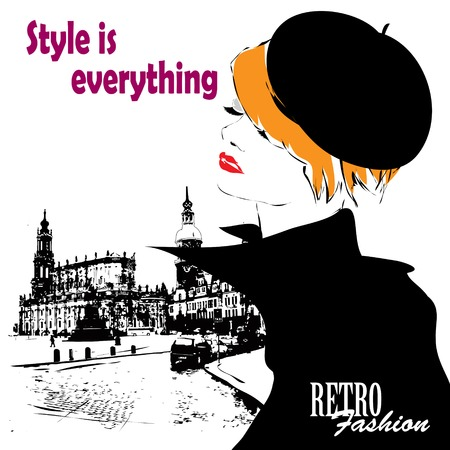 dress sketch: Fashion girl in sketch-style. Vector illustration.