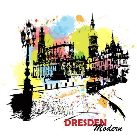 European capital, sketch, Dresden, modernist style, background, colors Illustration