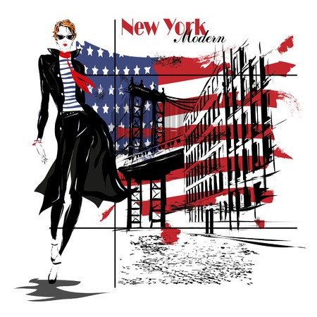 united states flag: beautiful young woman with national usa flag in background Illustration