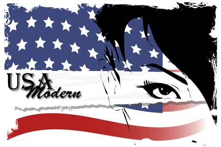 Pretty woman with american flag painted on face Vector