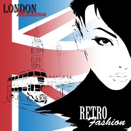 english girl: London vintage grunge poster, vector illustration