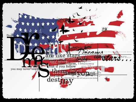 calligraphic design: Vintage Fashion Background. Vector illustration. Flag of the USA