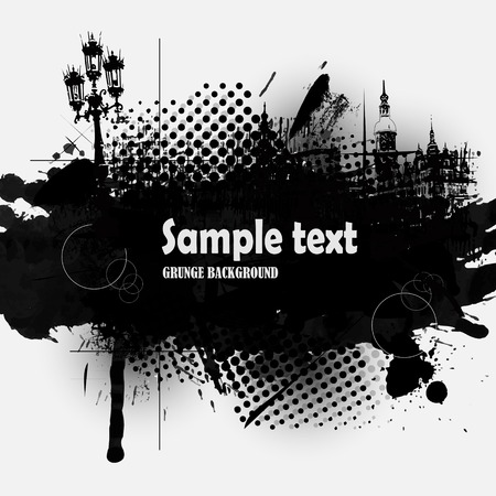 black grunge background: Grunge background, city landscape, black and white