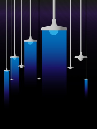 luminescence: Blue luminescence of lamps on a black background
