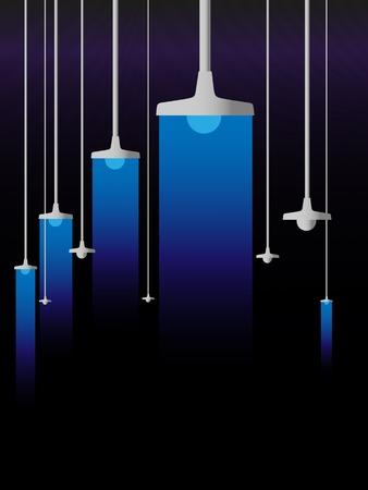 bombillo ahorrador: Luminiscencia azul de las l�mparas sobre un fondo negro