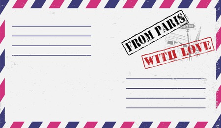 Air mail envelope with postal stamp Vector