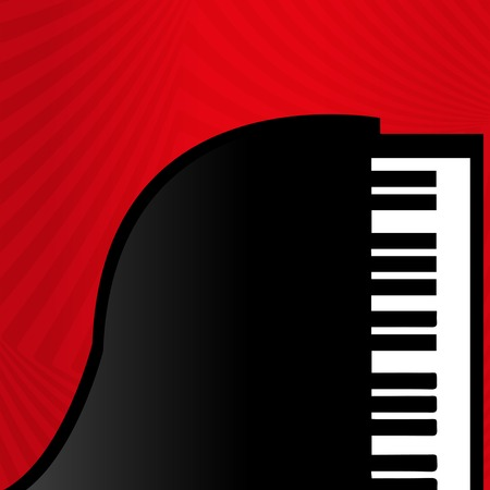 black piano: Piano on a red background, jazz