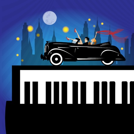 oldies: old new york background, piano and car Illustration