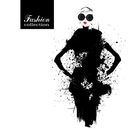 boceto: Chica de moda en el estilo de dibujo. Ilustraci�n del vector.