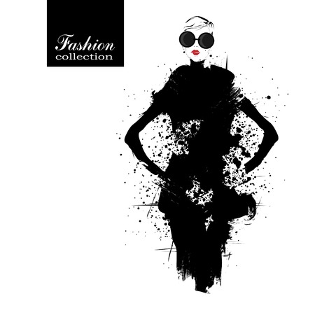 Fashion girl in sketch-style. Vector illustration. Vector