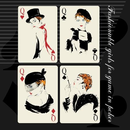 La muchacha en estilo retro. Jugar a las cartas. Poker. Casino