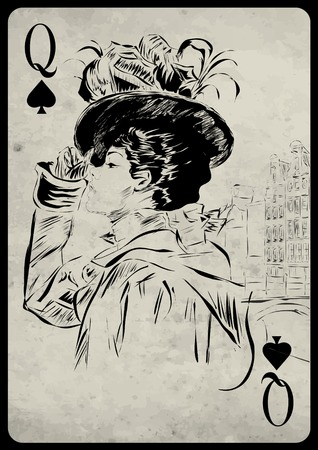 bluff: The girl in retro style. Playing card. Poker. Casino Illustration