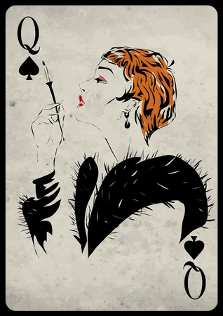 card game: The girl in retro style. Playing card. Poker. Casino Illustration