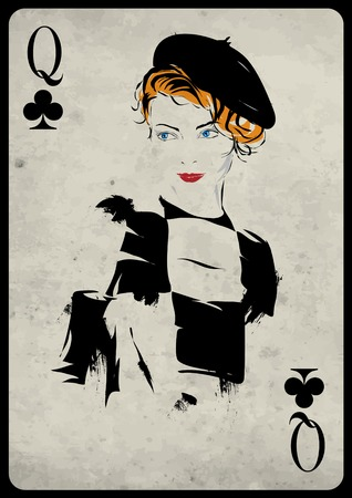 poker hand: The girl in retro style. Playing card. Poker. Casino Illustration