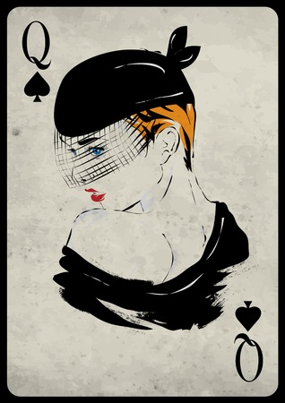 play card: The girl in retro style. Playing card. Poker. Casino Illustration