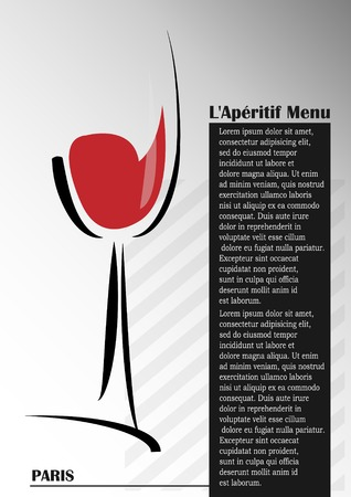 aperitif: Glass with red wine on a gray background
