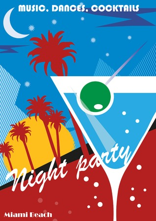 caribbean party: Beach Party poster background with palm leaves and cocktails, vector illustration