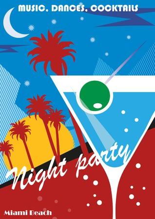 caribbean party: Fondo del cartel del partido de la playa con hojas de palma y c�cteles, ilustraci�n vectorial