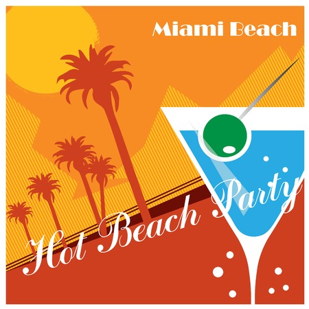 sunset beach: Beach Party poster background with palm leaves and cocktails, vector illustration