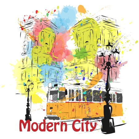 European capital, sketch, Budapest, background, colors
