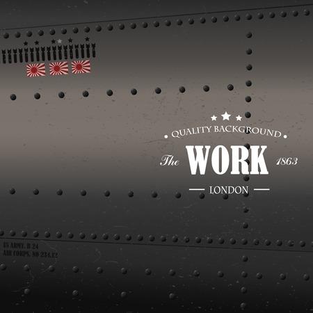 metal parts: Retro aviation, plane fuselage background Illustration