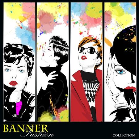 Stylish girls at a bright background. Banner Illustration