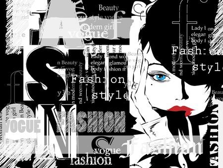moda mujer: Moda Vintage fondo. Letras, palabras y muchacha con estilo