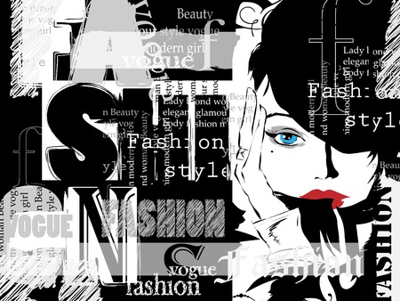 fashion illustration: Vintage fashion background. Letters, words and stylish girl