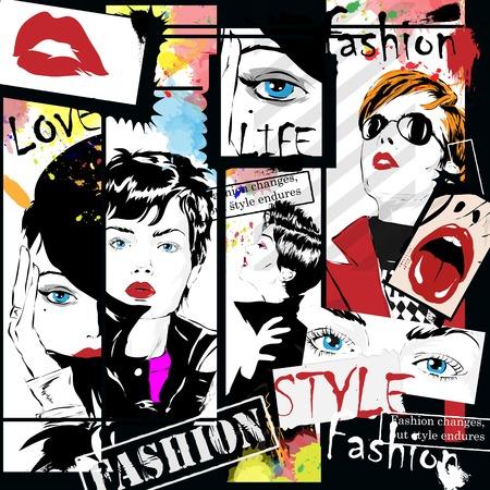 moda: Fashion girl in sketch-style. Illustrazione vettoriale.