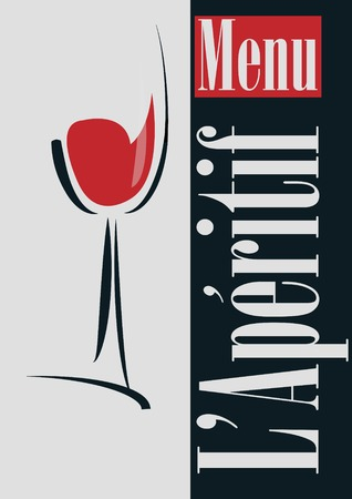 Glass with red wine on a gray background Vector