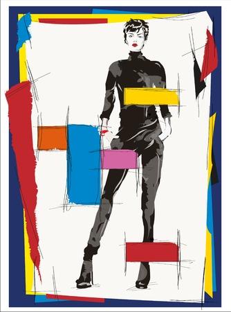 cubismo: Chica de moda del cubismo ilustración moderna