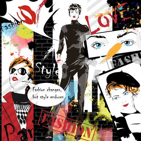 bocetos de personas: Chica de moda en el estilo de dibujo. Ilustración del vector.