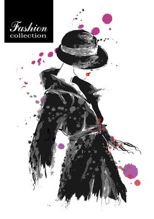 mode: Mode flicka i skiss-stil. Vektor illustration.