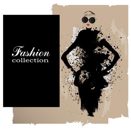 femme romantique: Fashion girl au croquis de style. Vector illustration. Illustration
