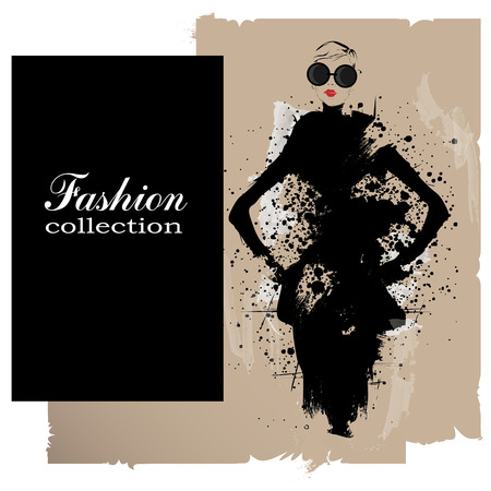 Mode flicka i skiss-stil. Vektor illustration.