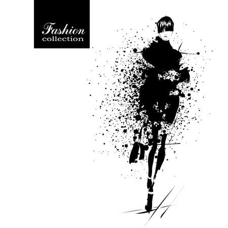 mode: Fashion Mädchen in Sketch Stil. Vektor-Illustration.