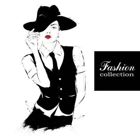 model fashion: Fashion girl in sketch-style. Vector illustration.