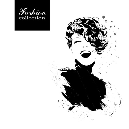 stylish woman: Fashion girl in sketch-style. Vector illustration.
