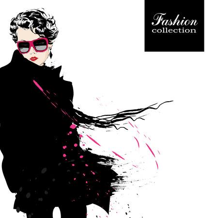 coiffer: Fashion girl au croquis de style. Vector illustration. Illustration