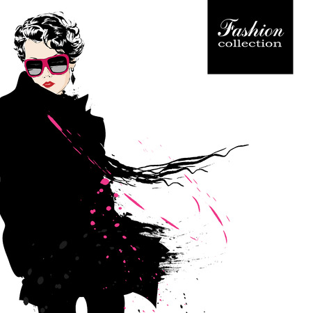 spring fashion: Fashion girl in sketch-style. Vector illustration.